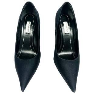 BALENCIAGA Black Spandex Pointed Toe Pump Heels Size