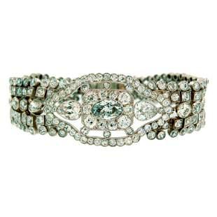 Art Deco Diamond Bracelet with Light Fancy Blue
