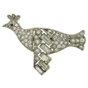 Janesich Diamond Platinum Bird Pearl Enhancer Clasp