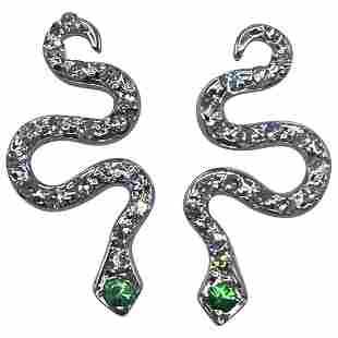 Modern White Gold and Diamond Snake Stud Earrings