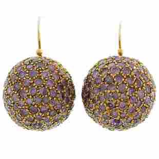Pink Diamond Rose Gold Ball Earrings