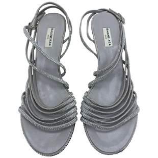 Balenciaga Crystal Embellished Grey Suede Strappy Heels