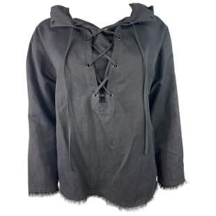 Nili Lotan Black Cotton Top, Size Medium