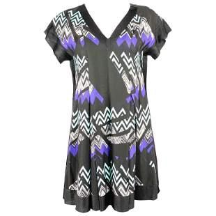 MISSONI Black and Blue Zig Zag V- Neck Short Sleeves