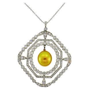 Tiffany & Co. Pearl Diamond Platinum Pendant Necklace
