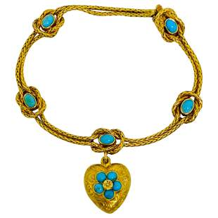 Antique Yellow Gold and Turquoise Bracelet w/ Heart