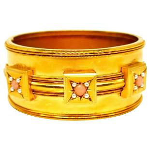 Victorian Coral Yellow Gold Bangle Bracelet