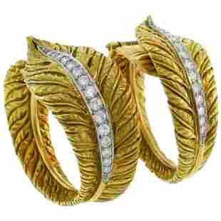 Diamond Yellow Gold Hoop Earrings, 1980s