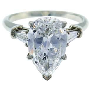 Harry Winston Diamond Platinum Ring 3.60 Carat Pear