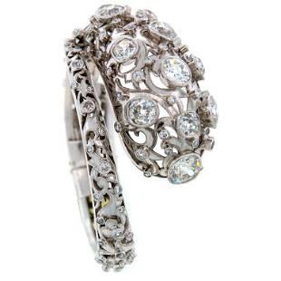 Lalaounis Diamond Platinum Snake Bangle Bracelet