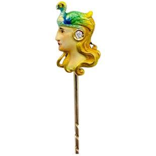 Art Nouveau Yellow Gold, Enamel and Diamond Stick Pin