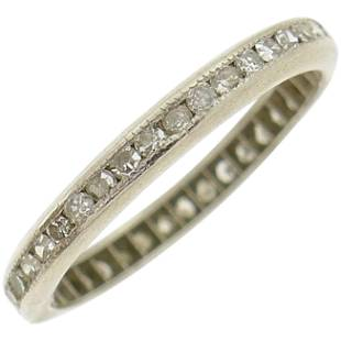 Art Deco Diamond Platinum Eternity Band Ring Single Cut