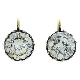 Victorian Diamond Silver Gold Drop Stud Earrings,