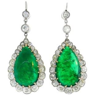 Victorian Emerald Diamond Dangle Earrings in Gold and