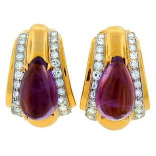 DAVID WEBB Amethyst Diamond & Yellow Gold Earrings