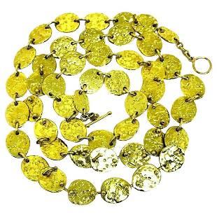 Jennifer Meyer Hammered Yellow Gold Chain Necklace