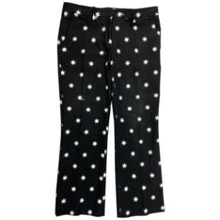 NO. 21 Black and White Cotton Star Pants, Size 44
