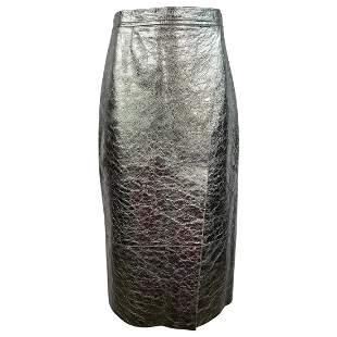 Ines & Marechal Silver Metallic Pencil Leather Skirt