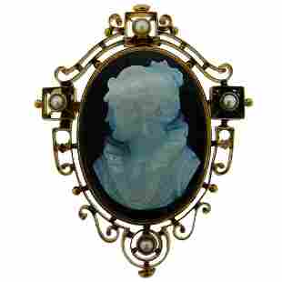 Victorian Agate Cameo Pearl Yellow Gold Pin Brooch