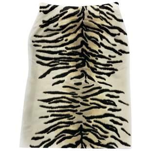 Celine Ivory and Black Silk Pencil Skirt Size 38