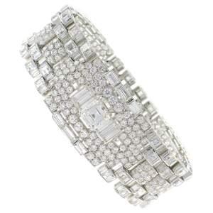Art Deco Revival Diamond Platinum Bracelet, 1960s
