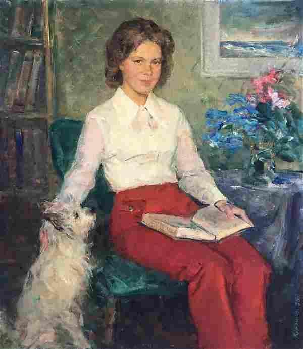 Social realism oil painting Portrait of a woman Krylov