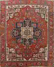 Pre-1900 Antique Vegetable Dye Heriz Serapi Persian