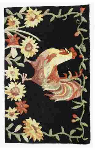Handmade vintage American hooked rug 1.6' x 2.6' (50cm