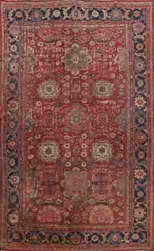 Pre-1900 Antique Floral Mahal Persian Area Rug 10x13