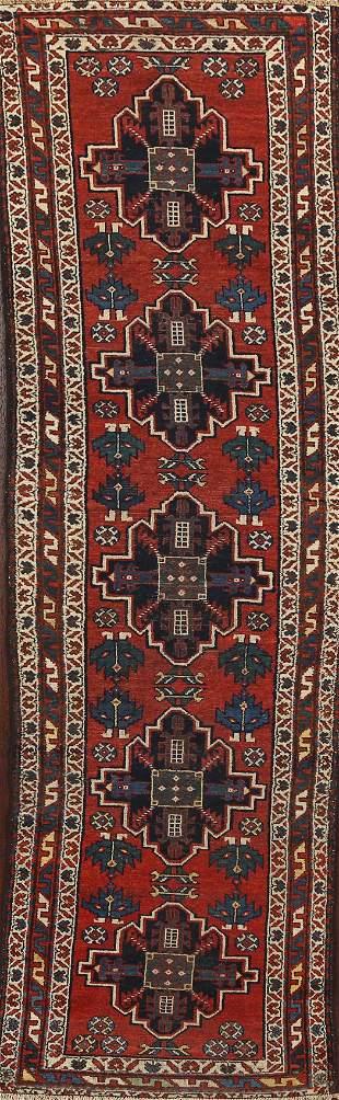 Antique Geometric Bakhtiari Persian Runner Rug 3x10