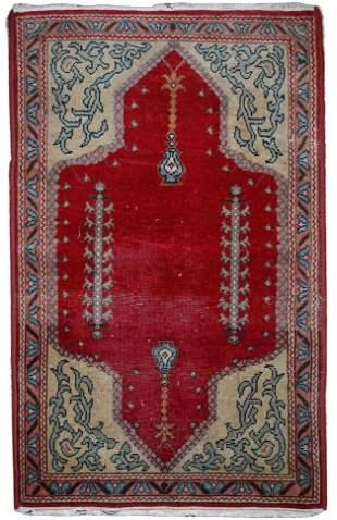 Handmade antique Turkish Konya rug 2.9' x 3.5' (69cm x