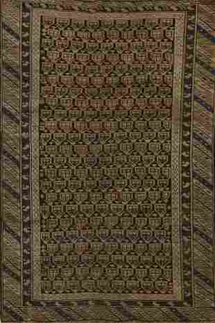 Pre-1900 Antique Geometric Bidjar Persian Area Rug 3x5