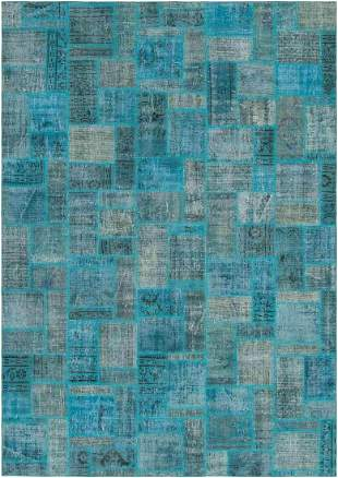 Hand-knotted Color Transition Patch Turquoise Wool Rug