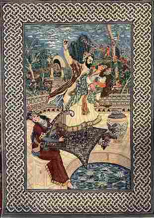 Hand Knotted Persian Pictorial Rug. Omar Khayam
