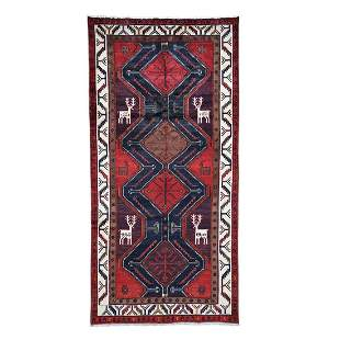 Red New Persian With Deers Pure Wool Wide Runner