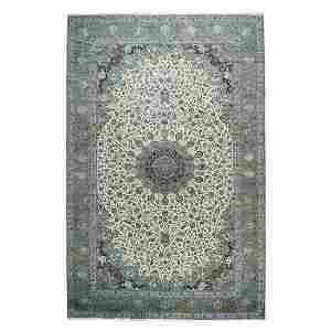 Oversize Persian Kashan Silk Flowers Sheikh Safi Design