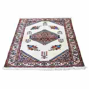 Vintage Bohemian Karabakh Pure Wool Ivory Hand-knotted