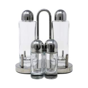 Stainless Steel and Glass Cruet Set by Ettore Sottsass