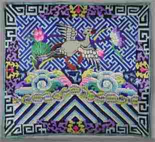 19c Chinese textile 5th RANK BADGE mandarin square