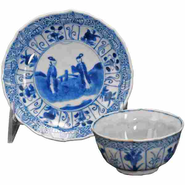 Chinese Kangxi Blue and White Teacup and Saucer