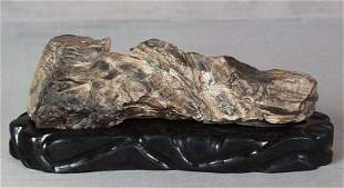 Chinese SCHOLAR'S ROCK / BRUSH REST PETRIFIED WOOD