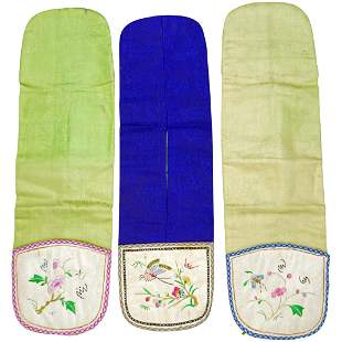 Three Chinese Silk Embroidered Coin Pockets c 1940