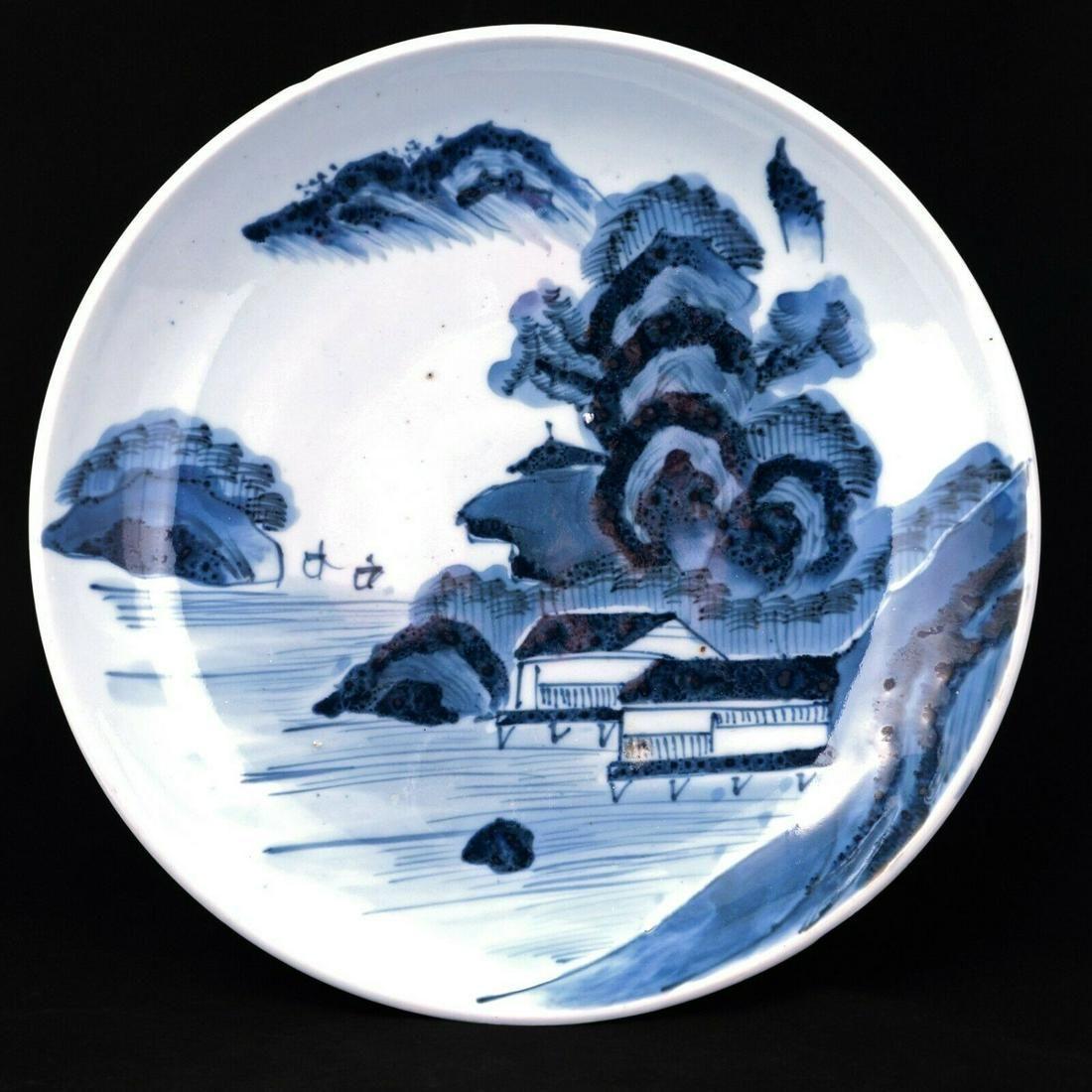 Large 19th C Japanese porcelain shallow bowl