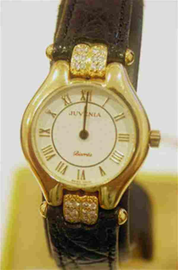 New 18k Gold JUVENIA Ladies watch with 0.24 ct Diamonds