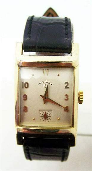 Vintage Mens 14k GF LORD ELGIN 21J Winding Watch 1940s