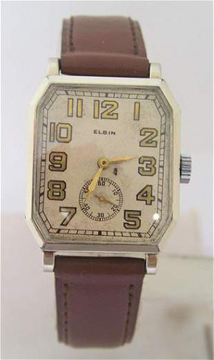 Vintage 14k White GF ELGIN Mens Winding Watch c.1920s*