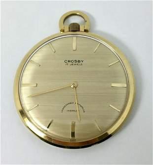 Vintage CROSBY Mens 17J Winding Open Face Pocket watch