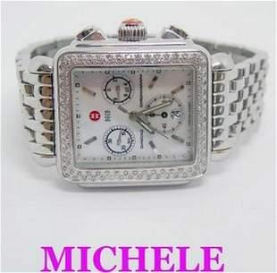 MICHELE DECO Chronograph Watch Diamond Bezel Mother of