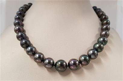 11x14.3mm Large Peacock Tahitian pearls - Necklace