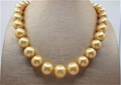 Large 12x15.4mm Round South Sea Pearls Gold - Necklace